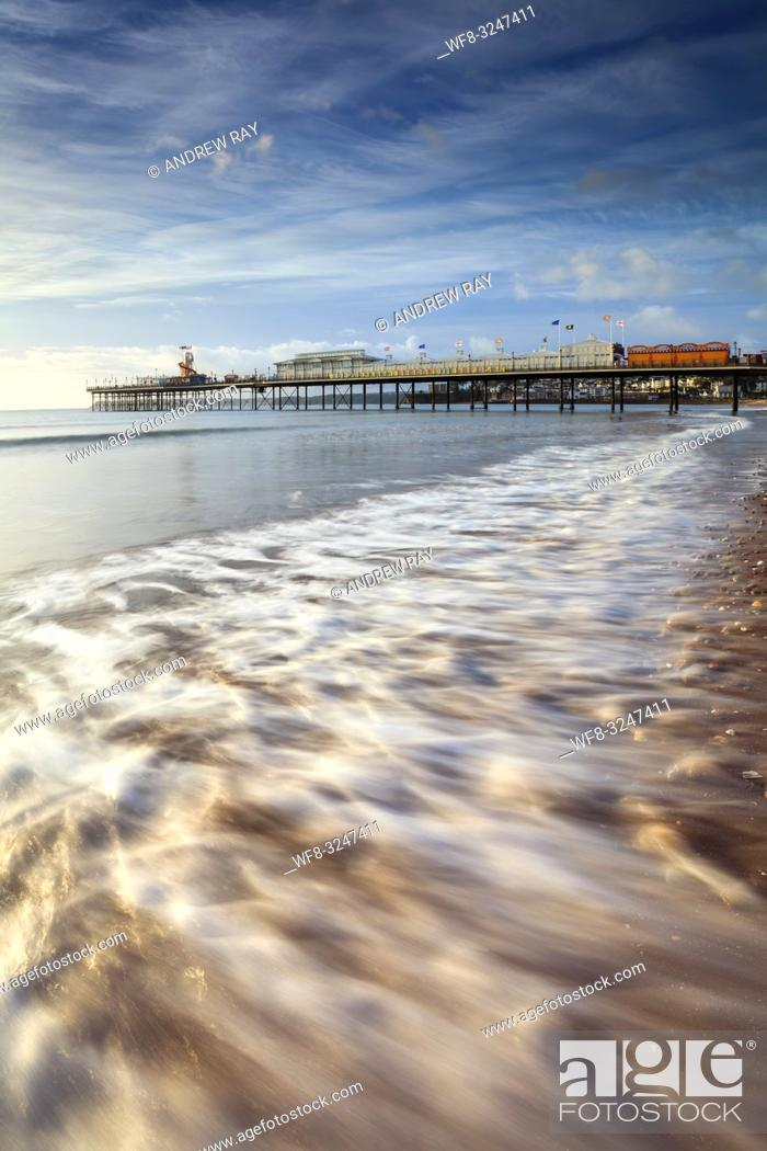 Stock Photo: Paignton Pier on the South Coast of Devon captured on a morning in mid September.