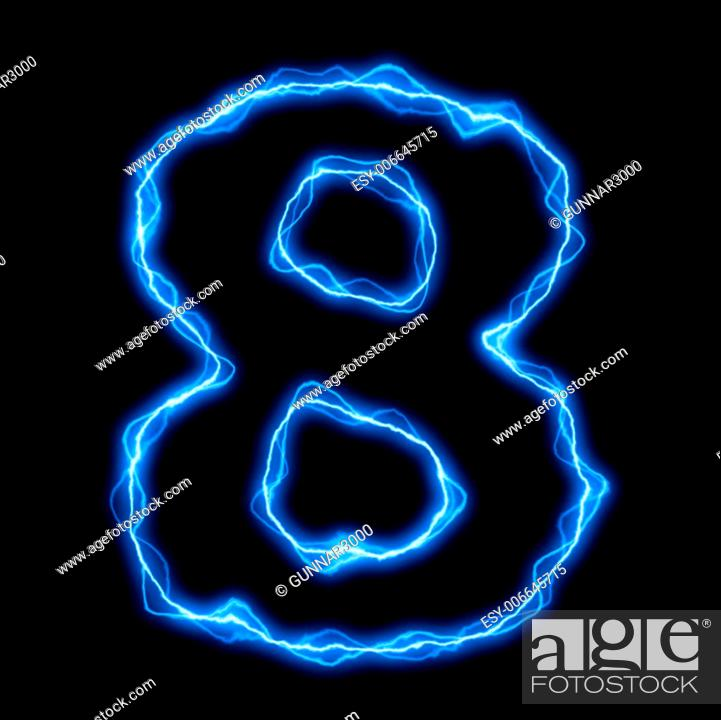 Stock Photo: electric lightning or flash font with blue letters on black.