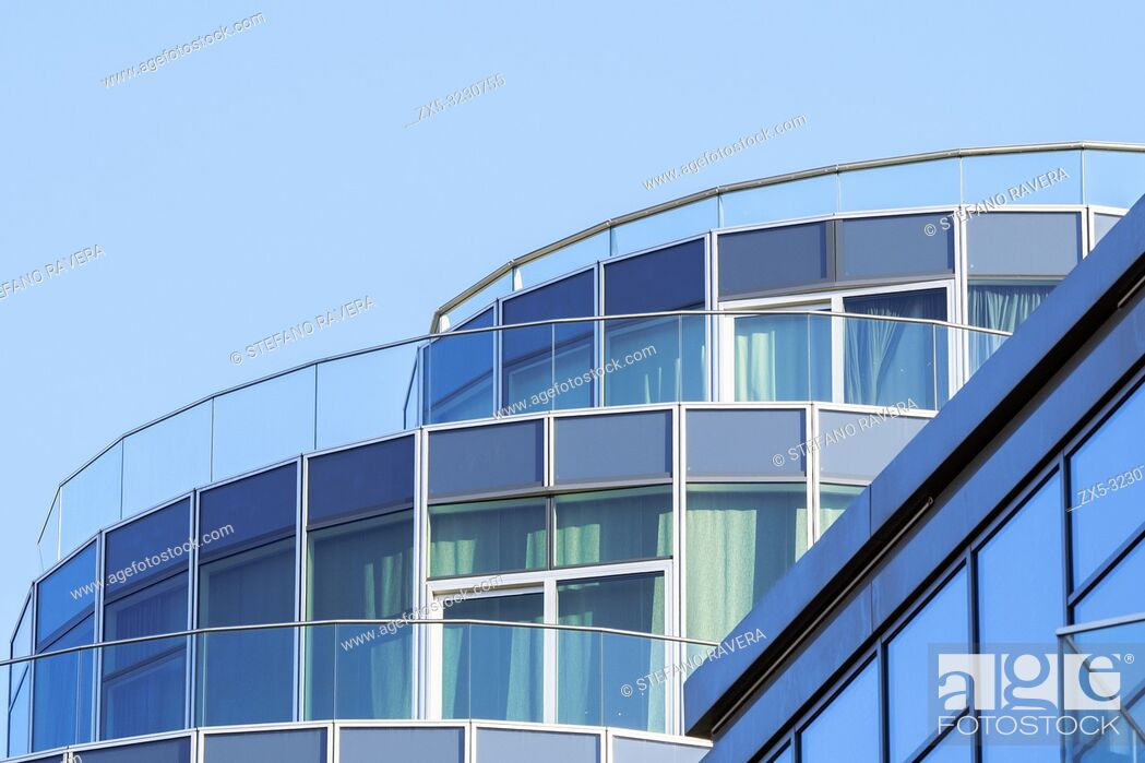 Stock Photo: Detail of the Pinnacle building apartments in Battersea Reach, Wandsworth - South West London, England.