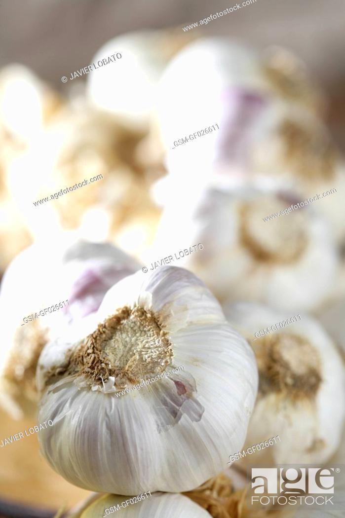 Imagen: String of garlic in perspective.