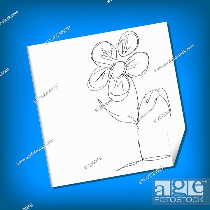 Stock Photo: Vector Sketch Illustration - camomile.