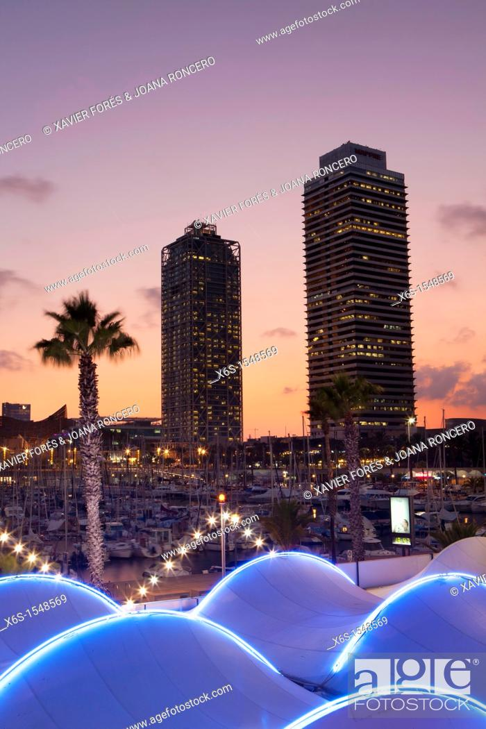 Stock Photo: Mapfre tower and Hotel Arts in the Olympic harbour, Barcelona, Spain.