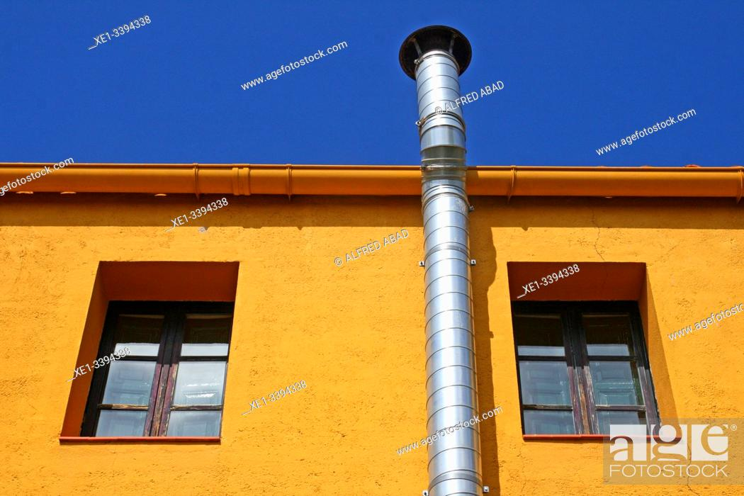 Stock Photo: Chimney in housing, Vallvidrera district, Barcelona, Catalonia, Spain.
