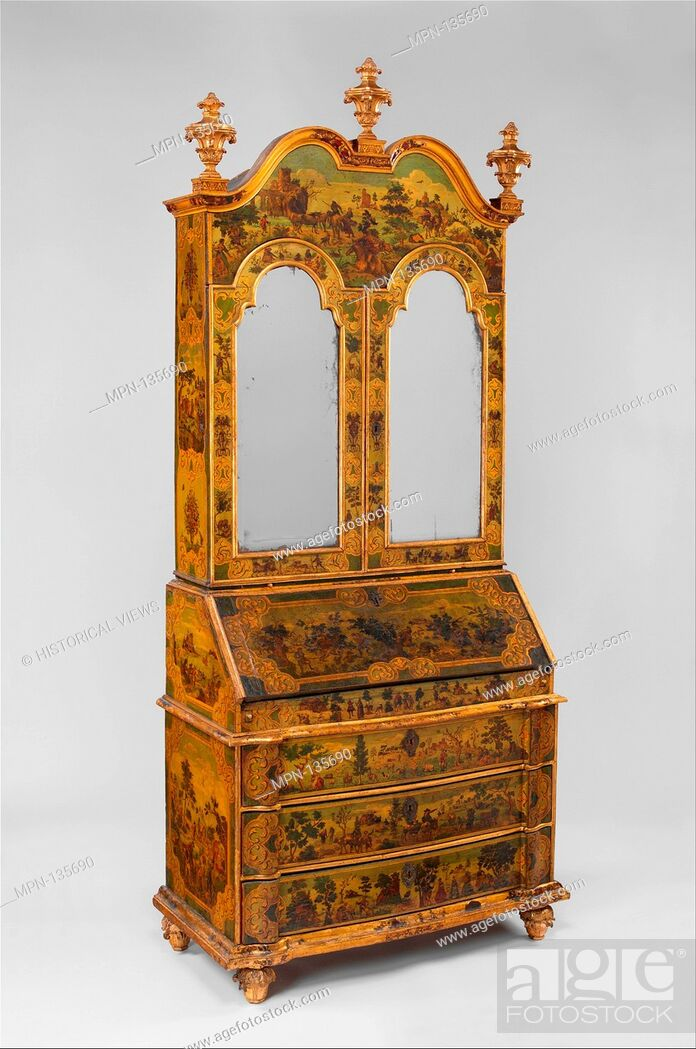 Stock Photo: Desk (Secretary). Date: ca. 1730-35; Culture: Italian, Venice; Medium: Pine; carved, painted, gilded, and varnished linden wood decorated with colored decoupage.