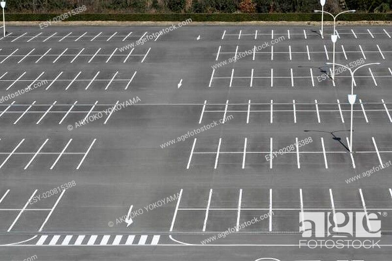 Stock Photo: Empty car parking lot with white mark.
