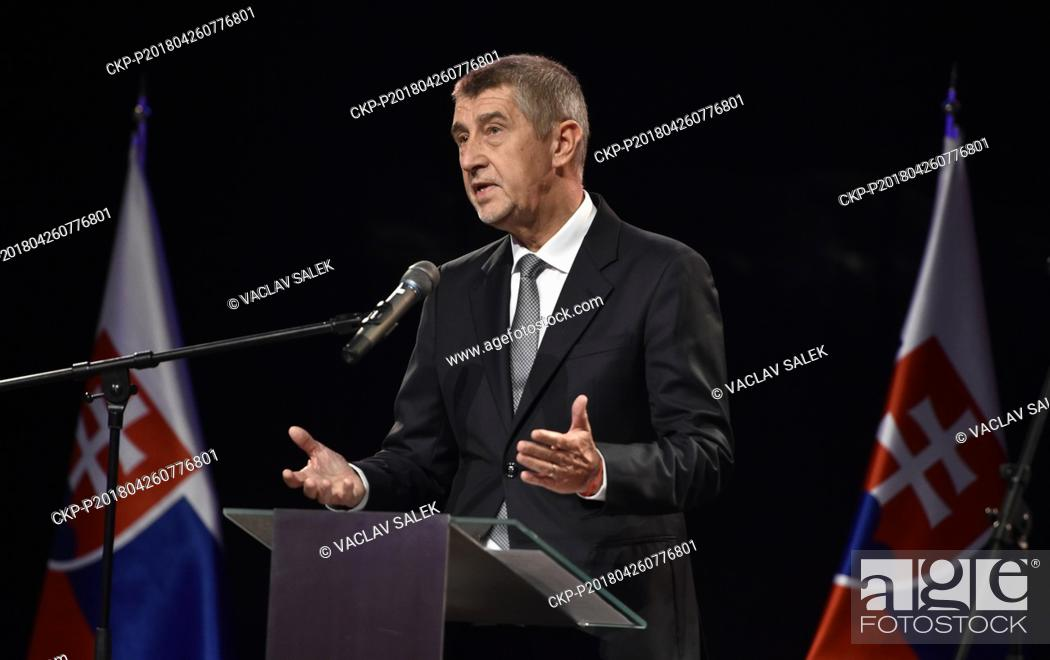Stock Photo: Czech Prime Minister in resignation Andrej Babis speaks during the opening of Czech-Slovak exhibition on the occasion of 100th anniversary of Czechoslovakia's.