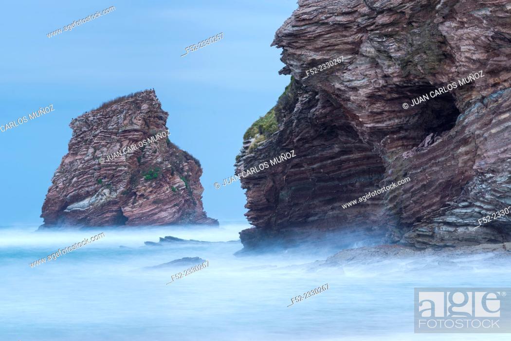 Stock Photo: The Twin Rocks of Hendaye, Hendaye, Pyrenees Atlantiques Department, Aquitania, France, Europe.