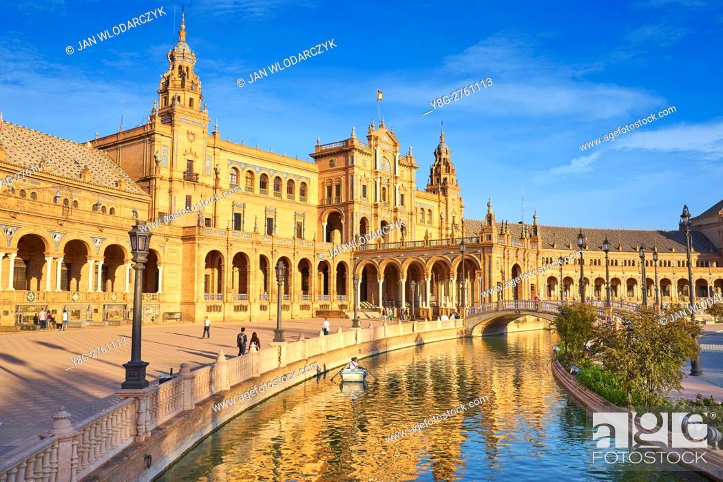 Stock Photo: Plaza de Espana - Seville, Sevilla, Andalusia, Spain.