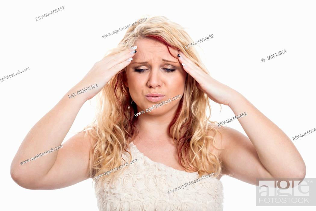 Imagen: Young blond woman with headache, isolated on white background.