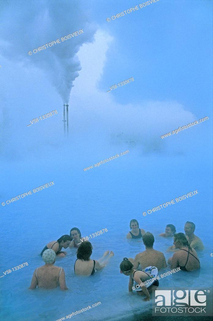 Stock Photo: Iceland, Reykjavik region, Blue Lagoon Hot Springs.