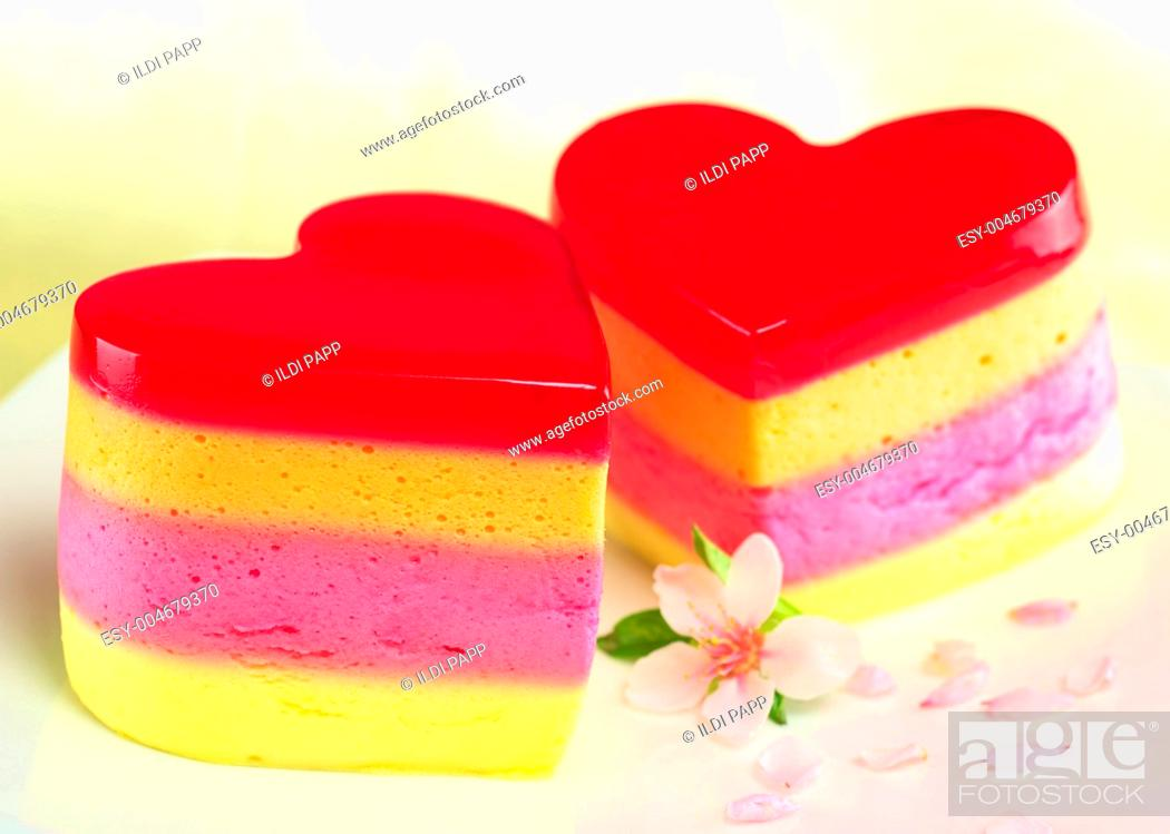 Stock Photo: Heart-Shaped Cakes Called Torta Helada.