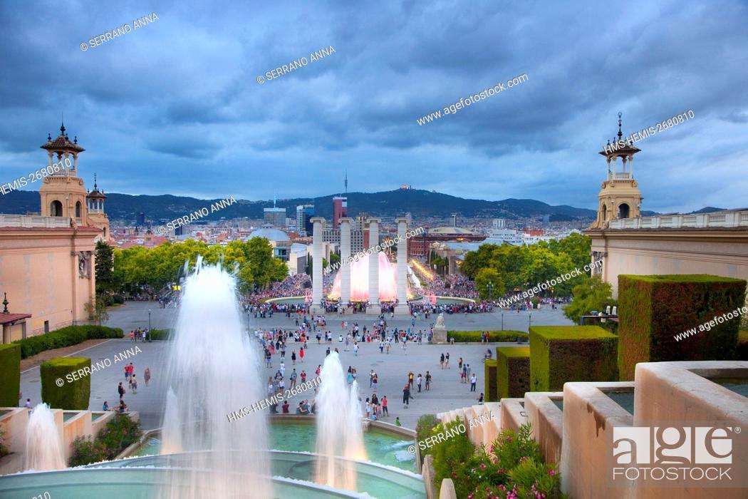 Stock Photo: Spain, Catalonia, Barcelona, Montjuic, Font Magica.