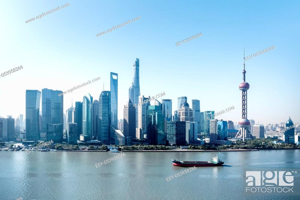 Stock Photo: modern shanghai skyline, leading city in the yangtze river economic zone.