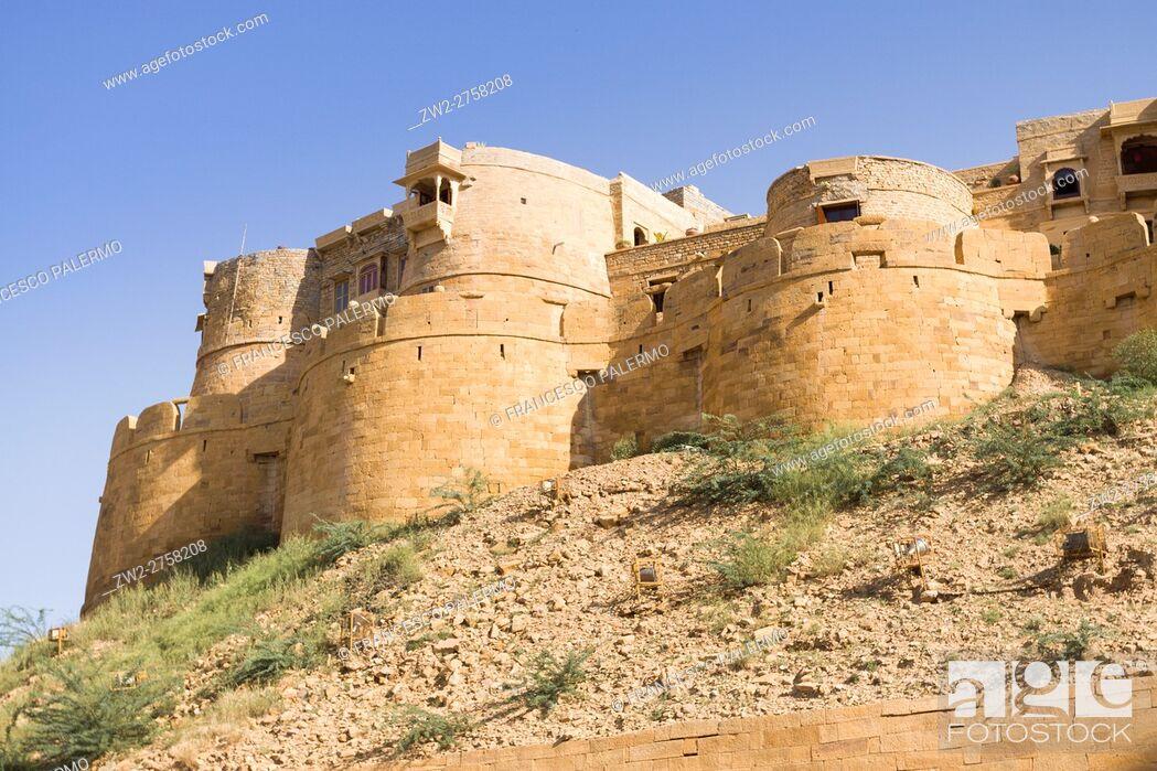 Stock Photo: Walls of fort. Jaisalmer, Rajasthan. India.