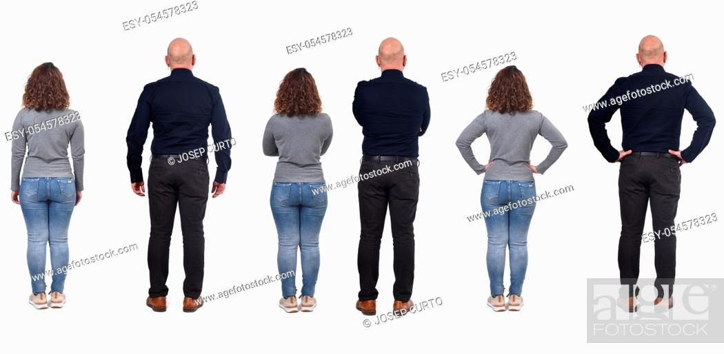 Stock Photo: full portrait of a couple from behind on white.