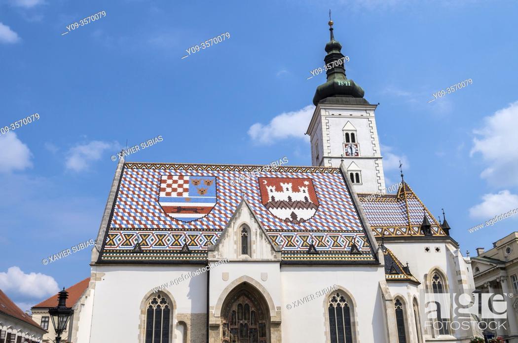 Stock Photo: St. Mark's Church, Zagreb, Croatia.