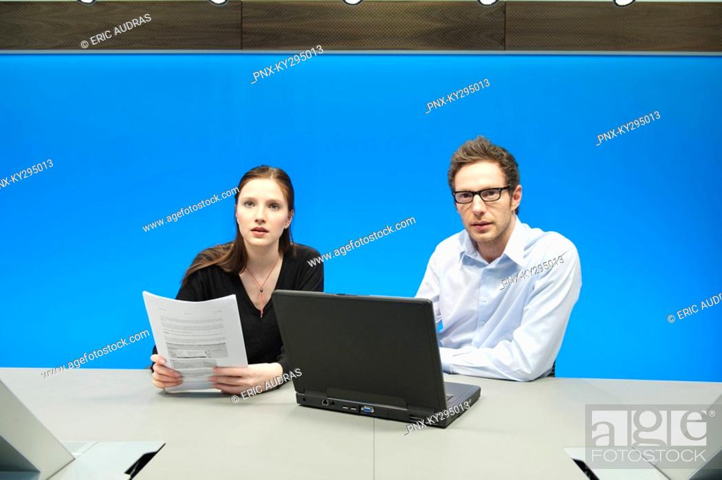 Stock Photo: Business executives working on a laptop in a conference room.