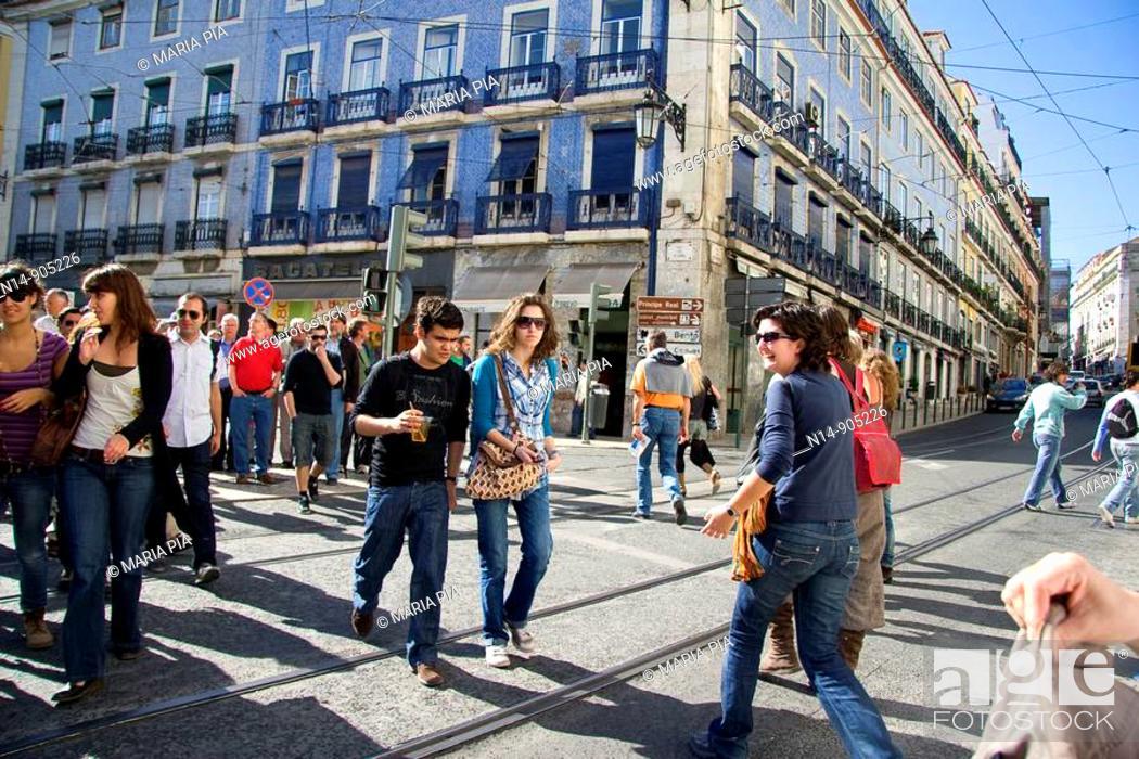 Stock Photo: People, street crossroads, Barrio alto, Lisbon, Portugal.