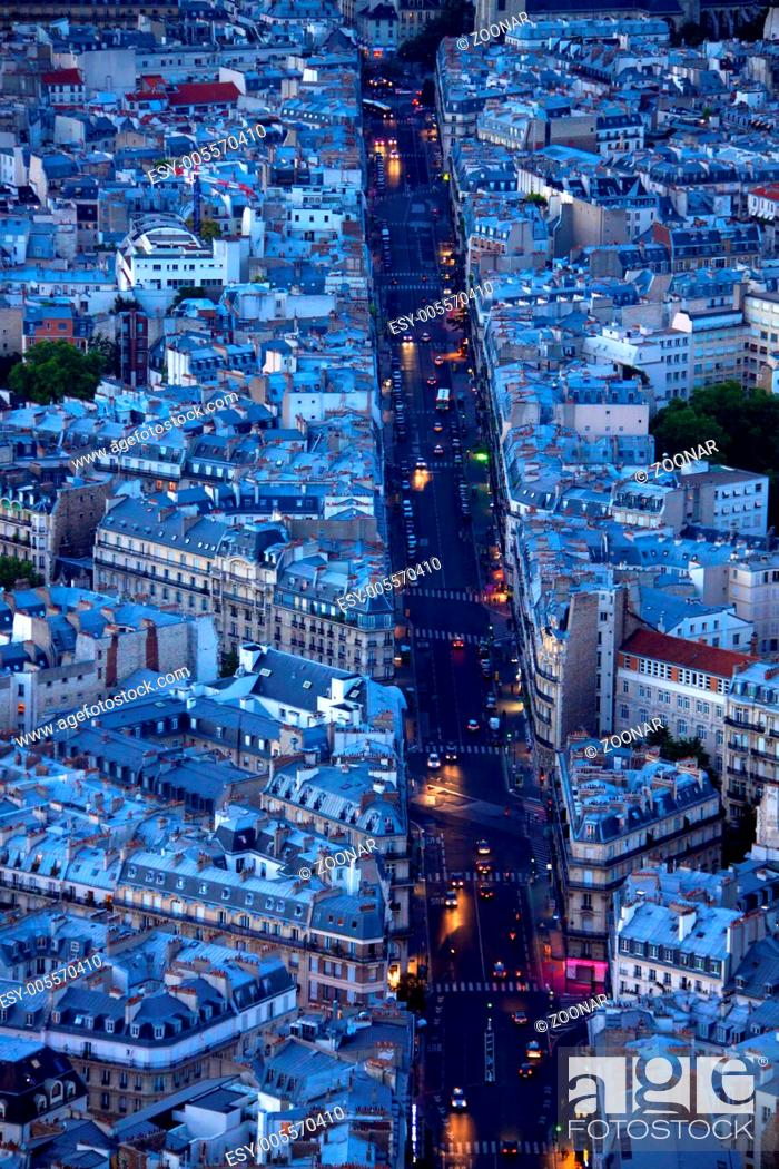 Stock Photo: Evening on boulevard Saint Michel in Paris as seen from the top of Tour Montparnasse.