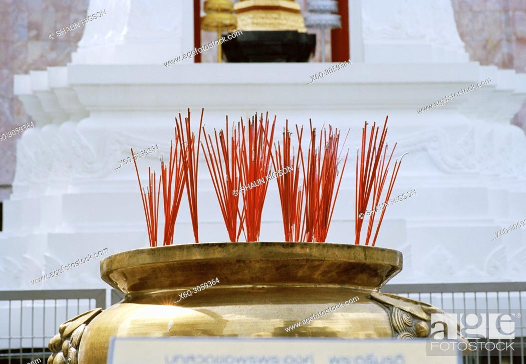 Imagen: Incense at the Trimurti statue God of Love at Central World in Bangkok in Thailand in Southeast Asia Far East.