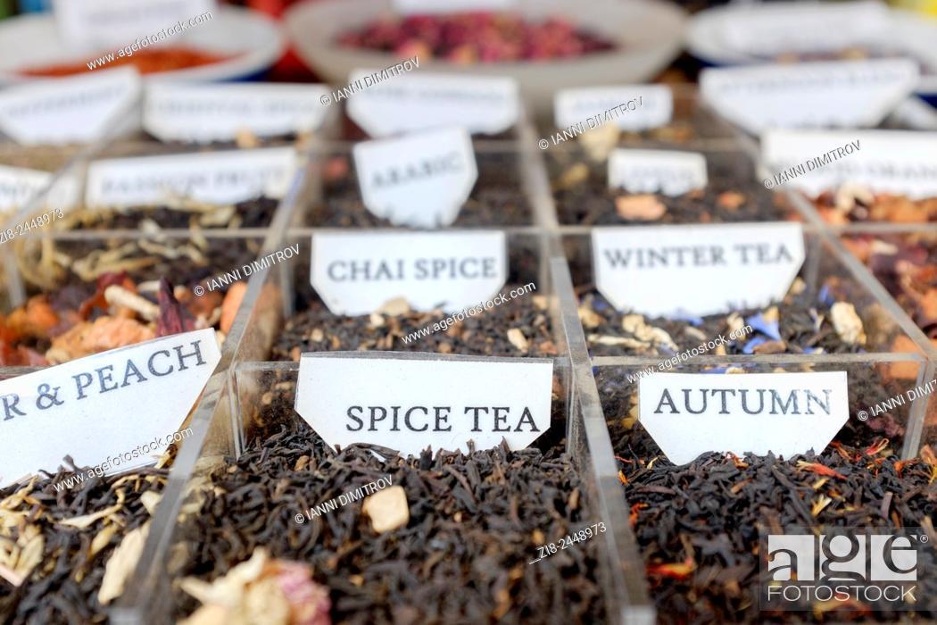 Stock Photo: Fragrant loose tea on display.