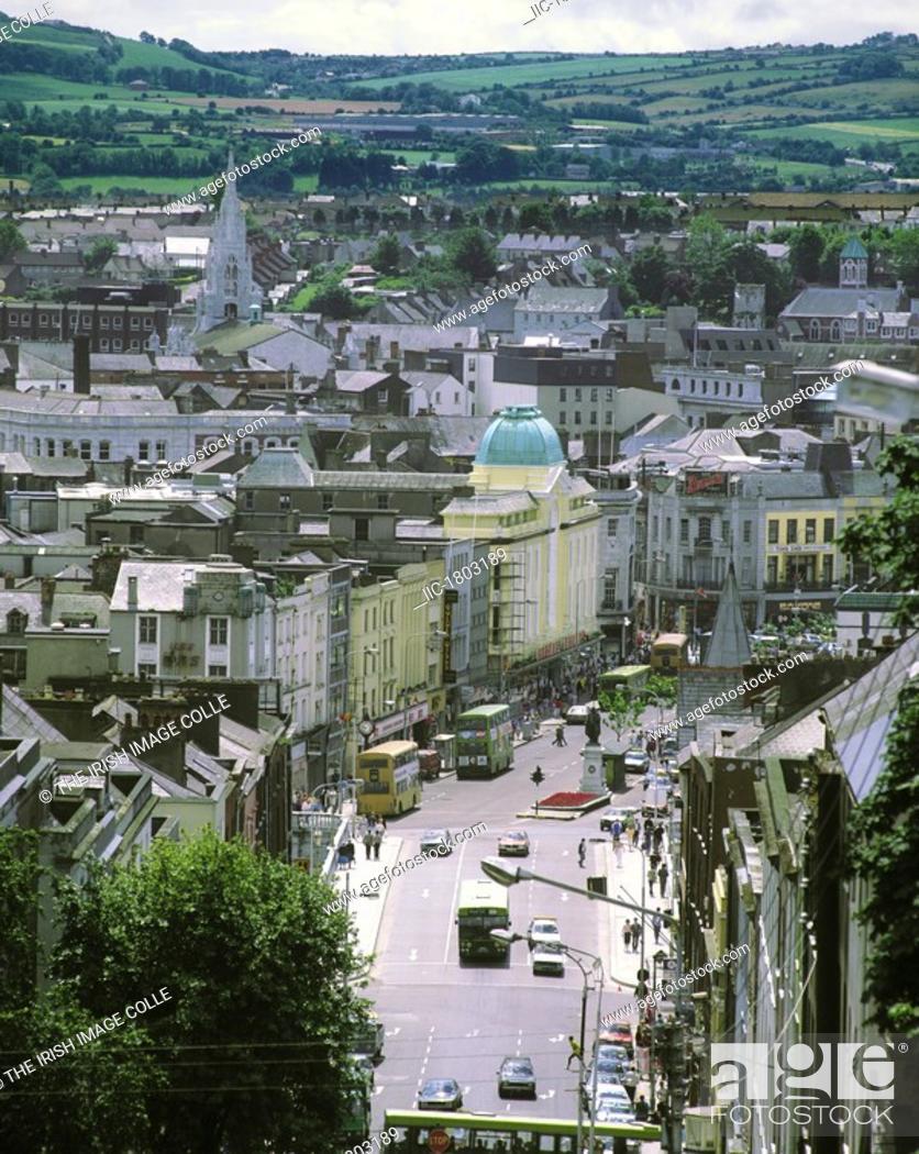 Stock Photo: Cork City Skyline showing Patrick Stree t.