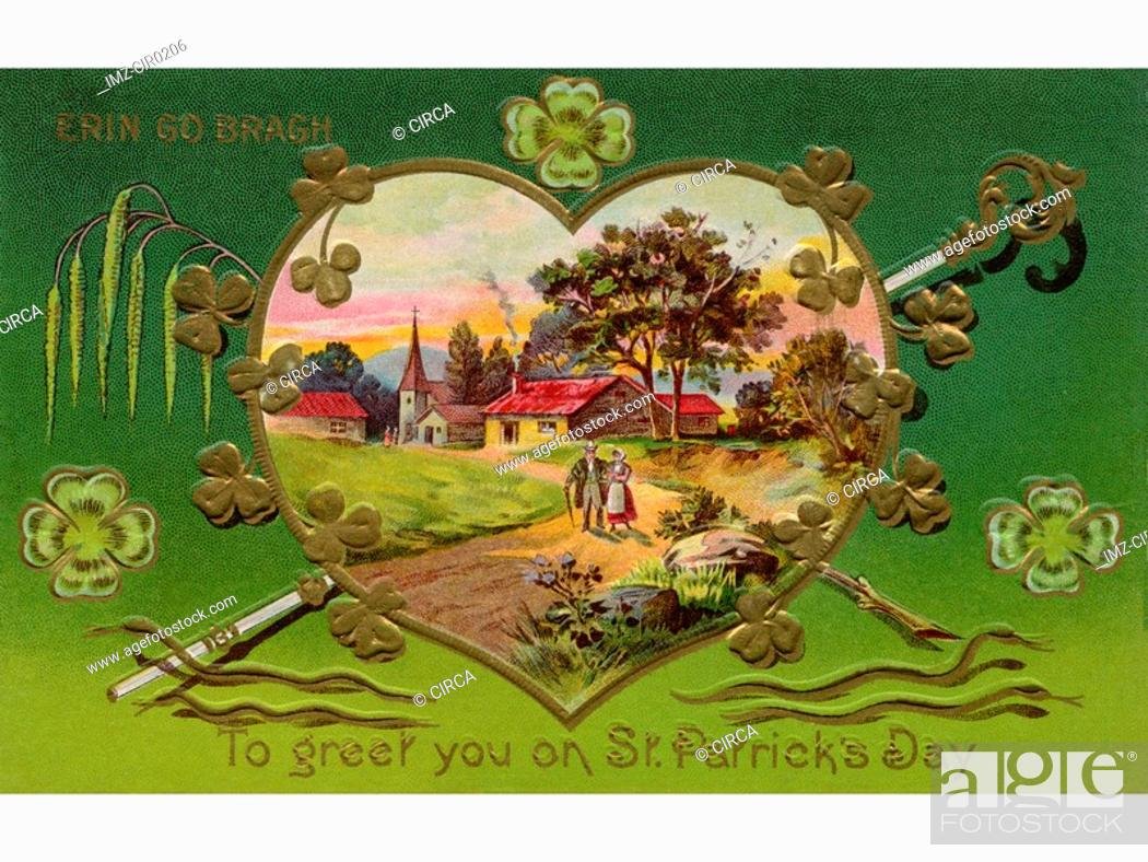 Stock Photo: A vintage card of a rural Irish landscape in a heart shaped frame.
