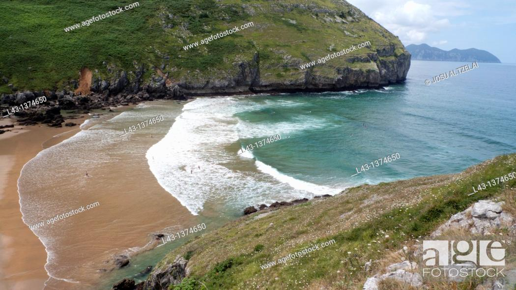 Stock Photo: Beach of Sonabia,province of cantabria,spain.