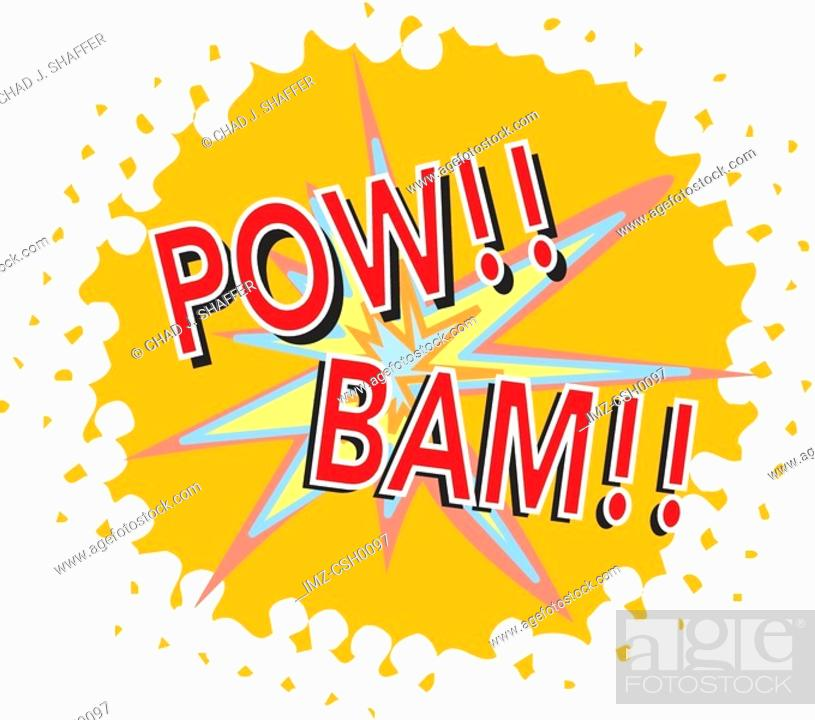 Stock Photo: A powerful explosion projecting bam! pow! loud noises.