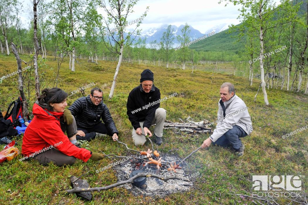 Stock Photo: campfire, Nordmannvikdalen valley, region of Lyngen, County of Troms, Norway, Northern Europe.
