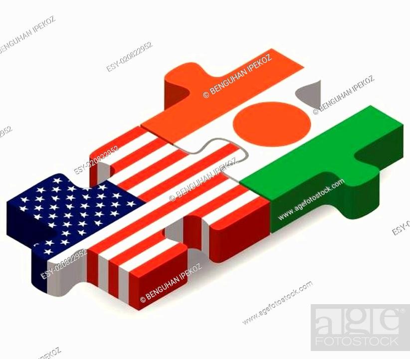 Stock Vector: USA and Niger Flags in puzzle.