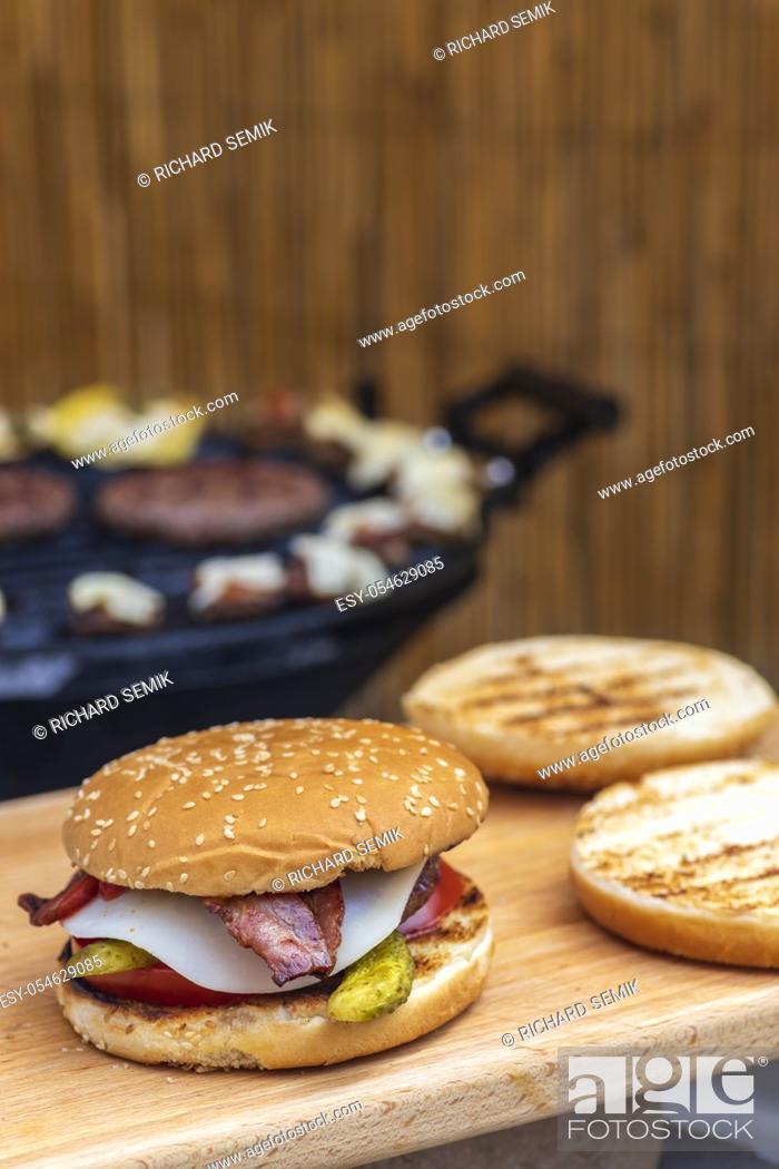 Stock Photo: homemade burger and garden grill.