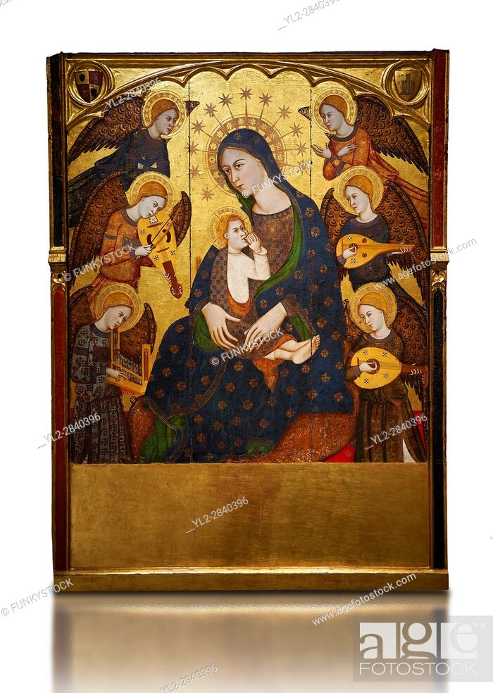 Stock Photo: Gothic painted Panel Virgin Suckling the Child by Llorenc Saragossa. Tempera, gold leaf and metal plate on wood. Last quarter of 14th century.