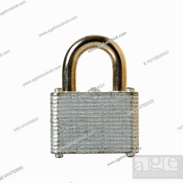 Stock Photo: Metal locked padlock.