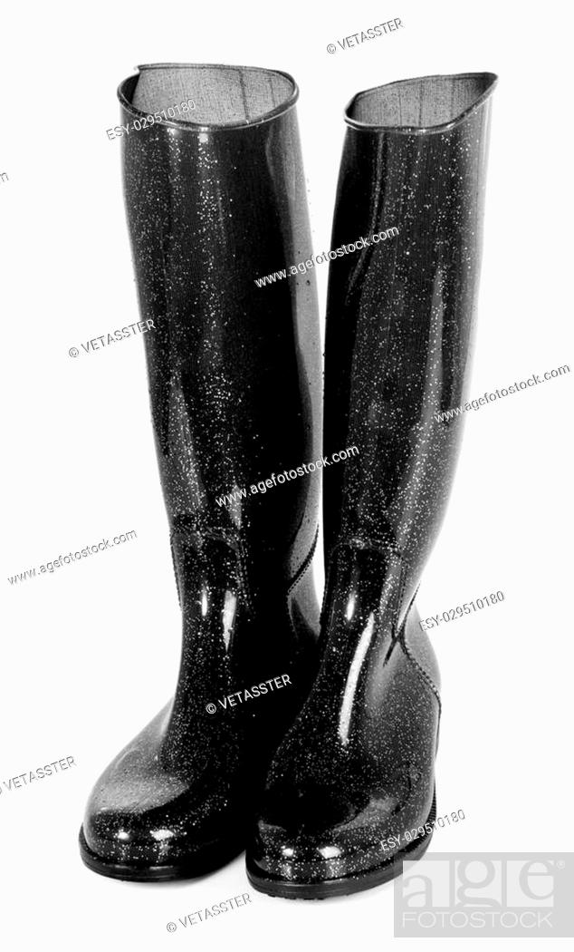 Stock Photo: Black shiny rubber high boots isolated on white background. Front view.