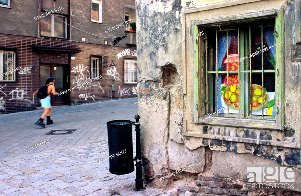 Stock Photo: Painted house with Van Gogh images, square Rudnayovo, Bratislava, Slovakia.