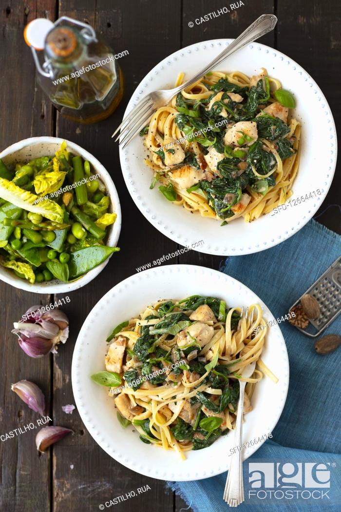 Stock Photo: Pasta with chicken and spinach.