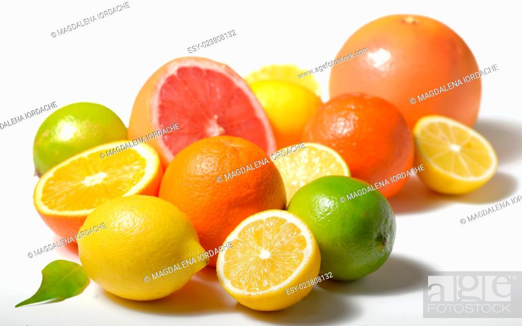 Stock Photo: citrus fruits isolated on white background.