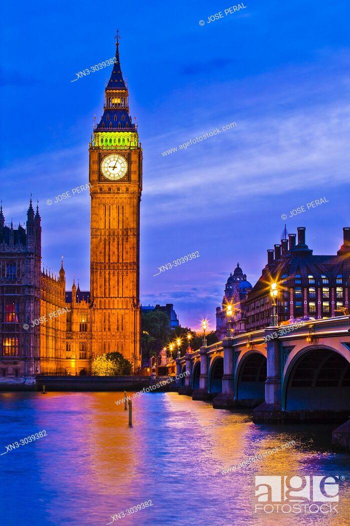 Imagen: Elizabeth Tower, Big Ben, Clock tower, Houses of Parliament, Palace of Westminster, Westminster Bridge, City of Westminster, River Thames, London, England, UK.