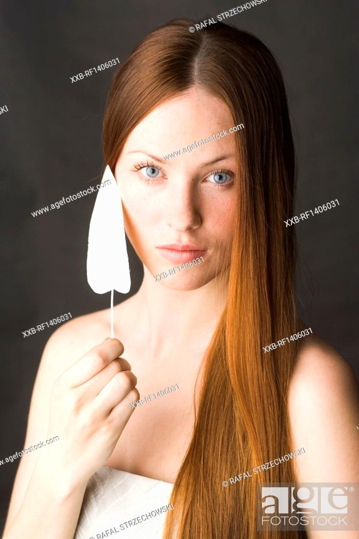 Stock Photo: beauty woman with leaf.