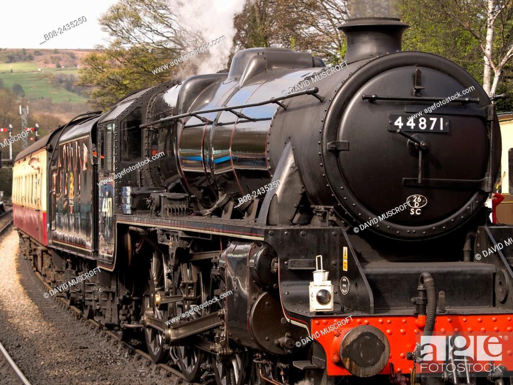 Stock Photo: vintage steam locomotive 44871 LMS at Grosmont station,on The North Yorkshire Moors Railway,Yorkshire,UK.