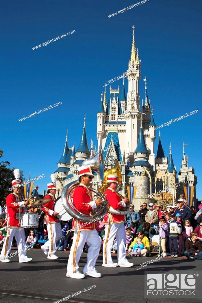 Stock Photo: Marching band, Disney Dreams Come True Parade, Magic Kingdom, Disney World, Orlando, Florida, USA.