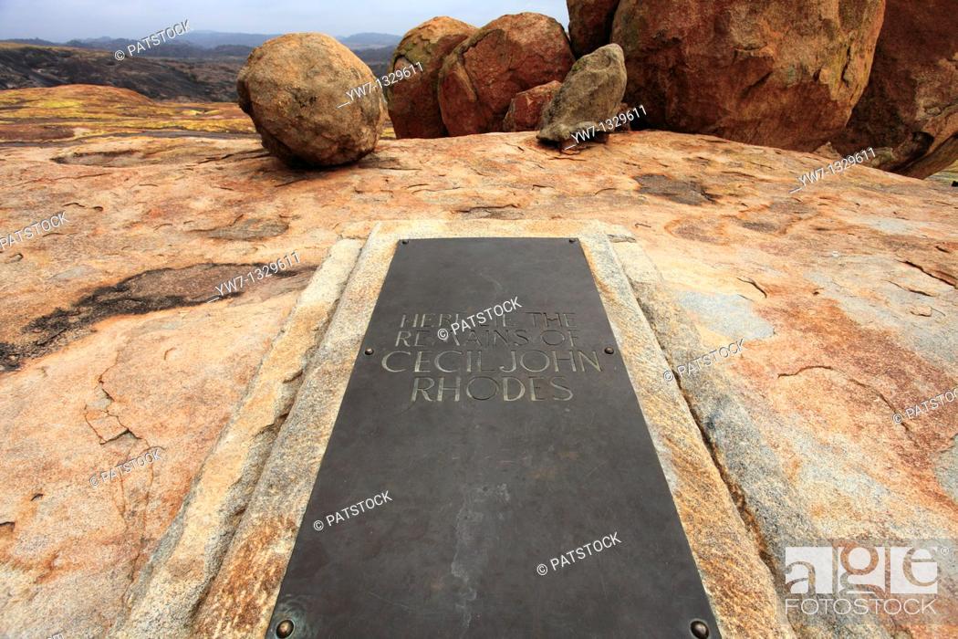 Stock Photo: Cecil John Rhodes tomb surrounded by boulders on World's View Malindidzimu Hill in Matopo National Park, Zimbabwe.