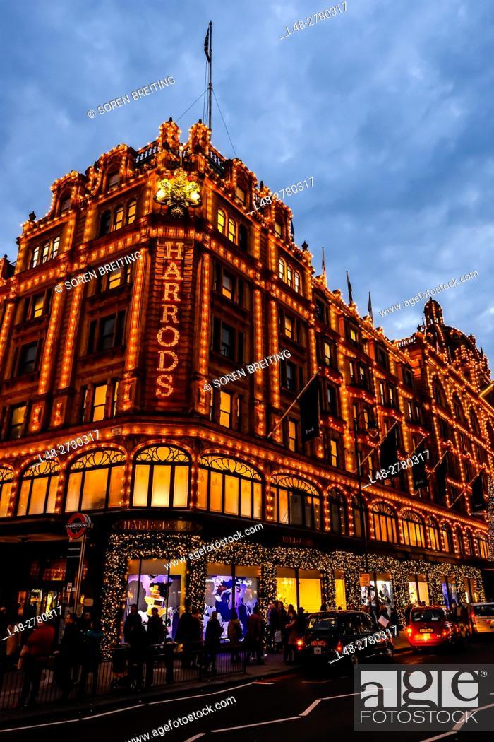 Stock Photo: Harrods at Knightsbridge London in Christmas light decoration December 2016.
