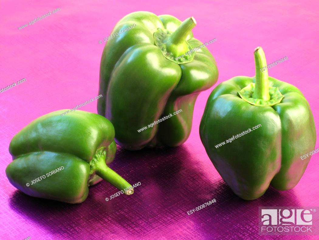 Stock Photo: Green peppers.