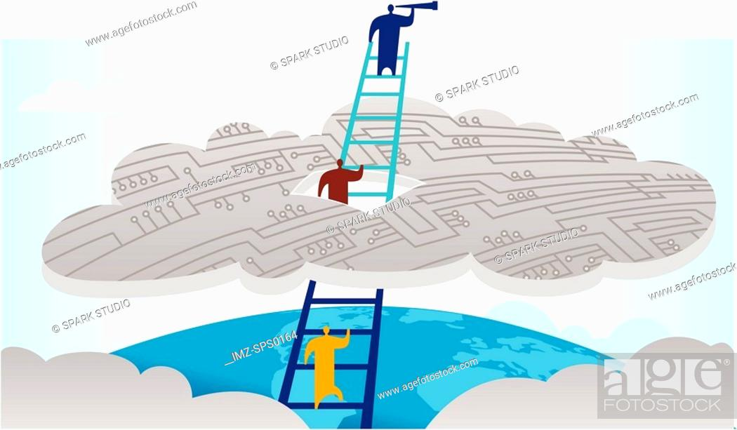 Stock Photo: People climbing a ladder through a cloud, with the leader looking through a telescope.