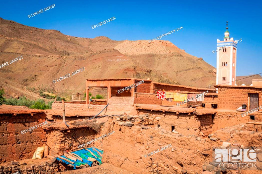 Stock Photo: ruins in dades valley, morocco.