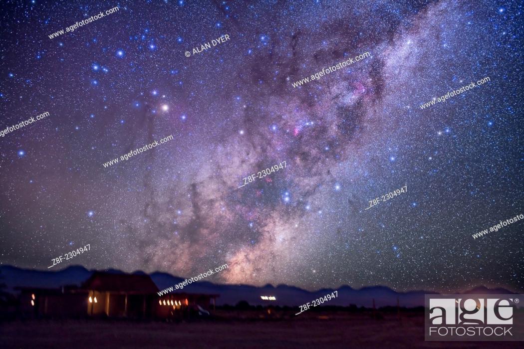 Stock Photo: Scorpius rising over Atacama Lodge near San Pedro de Atacama in Chile (latitude -23°). Taken in March 2010 with modified Canon 5DMkII and Sigma 50mm lens at f/2.