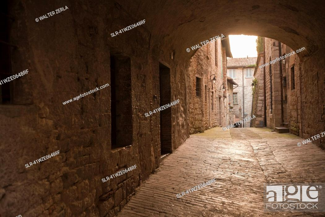 Stock Photo: Cobbled archway in village.