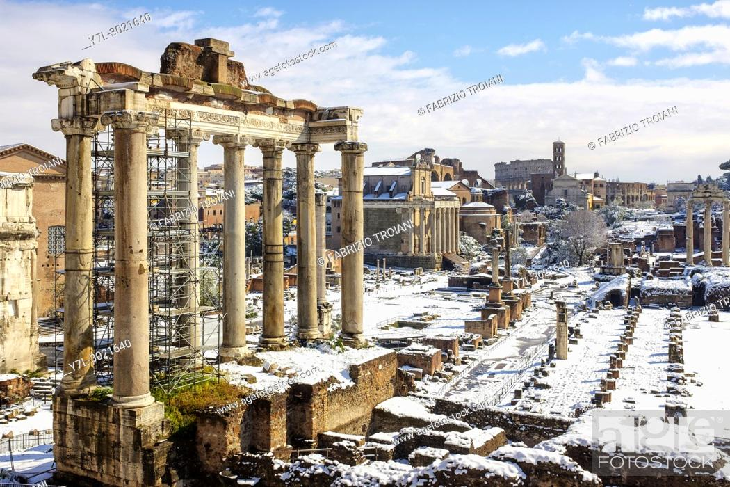 Stock Photo: Rome, Italy. Buran, a freezing wind from Siberia hits Rome with icy temperatures and snow.